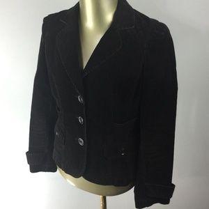 ANN TAYLOR LOFT Button Front Brown Corduroy Blazer